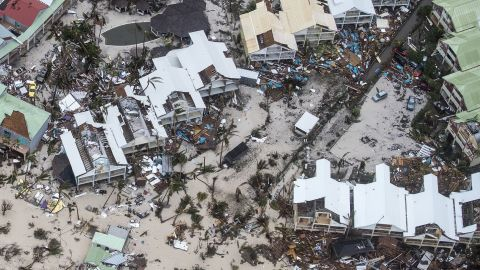 An aerial view shows the damage that Hurricane Irma left on the Dutch side of the island of St. Martin.