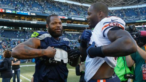 Michael, left, and Martellus Bennett, seen in 2015, are among the most outspoken players in the NFL.