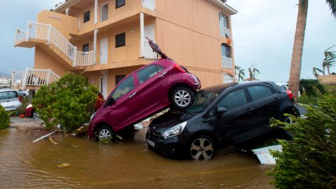Cars are piled up in Marigot on September 6.