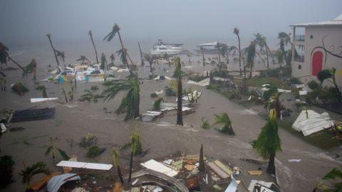 Irma floods a beach in Marigot on September 6.