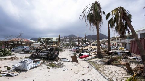 Irma damage is seen in St. Martin's Orient Bay on September 7.