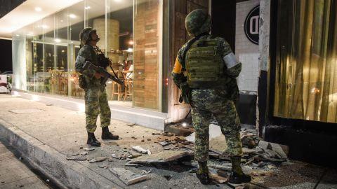 Men survey damage in Veracruz, Mexico.