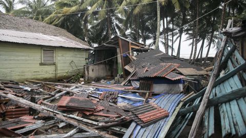A flattened home is seen in Nagua, Dominican Republic, on September 7.