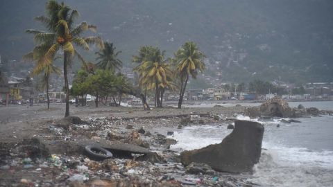 Trash and debris is washed ashore in Cap-Haitien, Haiti, on September 7.