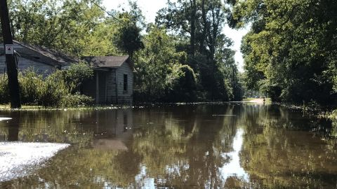 A home in Vidor, Texas, sits in floodwaters from nearby Smith Lake on September 6.