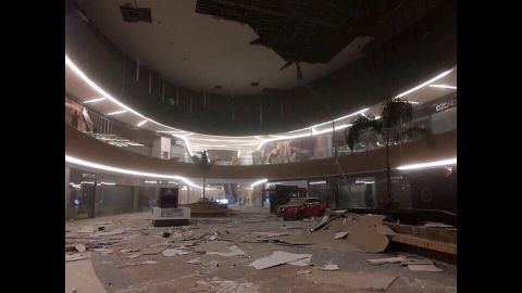 Damage is seen inside a mall in Tuxtla Gutierrez, Mexico.