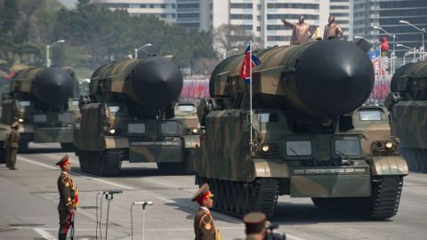 An unidentified rocket is displayed during a military parade marking the 105th anniversary of the birth of late North Korean leader Kim Il-Sung in Pyongyang on April 15, 2017.   North Korean leader Kim Jong-Un on April 15 saluted as ranks of goose-stepping soldiers followed by tanks and other military hardware paraded in Pyongyang for a show of strength with tensions mounting over his nuclear ambitions. / AFP PHOTO / Ed JONES        (Photo credit should read ED JONES/AFP/Getty Images)