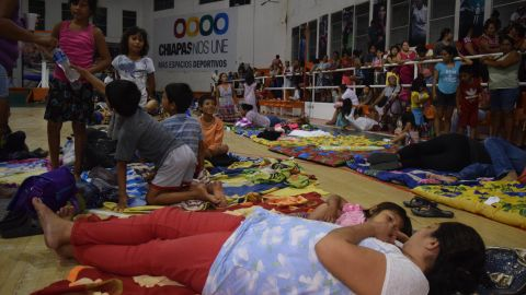 Residents of Tapachula, Mexico, stay in a shelter after the quake.