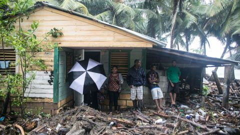 A home is surrounded by debris in Nagua, Dominican Republic, on September 7.