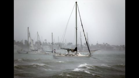 Sailboats moored near Watson Island ride out the winds and waves on September 10.