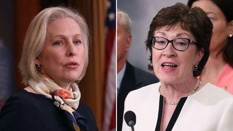 Sens. Kirsten Gillibrand, a New York Democrat (left) and Susan Collins, a Maine Republican.