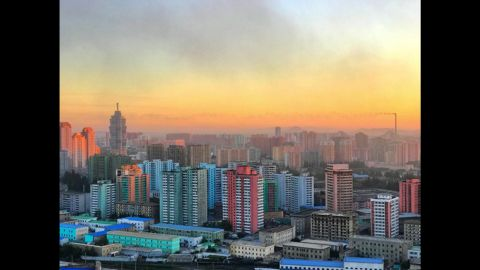 Sunset from inside Pyongyang, the North Korean capital, on August 31.