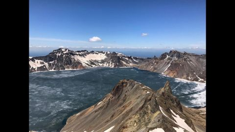 The view from the top of Mt Paektu on September 3, a sacred site to North Koreans close to the border with China. First time CNN has ever been allowed here.