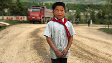A boy living in the mountainous northeastern border region on September 3, not far from North Korea's sixth nuclear test.