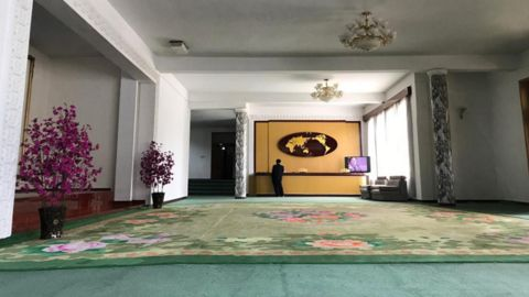 The lobby of the CNN team's hotel in Samjiyon on September 5.
