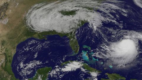 Satellite imagery shows the remnants of Irma over the southeast as Hurricane Jose sits in the western Atlantic.