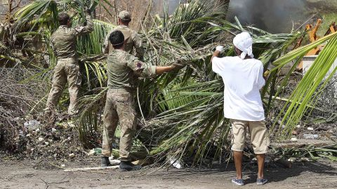 Members of the British Army provide support on Tortola, one of the British Virgin Islands.