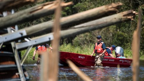Members of the US Coast Guard operate in floodwaters during rescue missions in Hastings, Florida, on September 12.