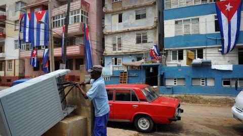 A man makes repairs in Havana on September 12.