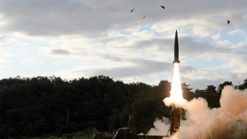 A South Korean Hyunmoo II ballistic missile is fired during an exercise at an undisclosed location on September 15, 2017.