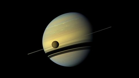Cassini took this image of Saturn's moon Titan in 2012. NASA scientists say they have detected acrylonitrile in Titan's atmosphere. The chemical could possibly form cell membranes. That means, according to scientists, Titan could have the right conditions for life to develop.