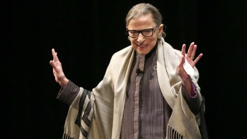 Ginsburg acknowledges applause before a speaking event in Chicago in September 2017.