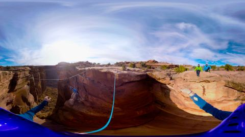 """The adventurous can get a glimpse into what it's like to cross a canyon hundreds of feet above the ground (here seen in the Utah deserts) with Discover VR's """"<a href=""""http://www.discoveryvr.com/watch/gillette-slackline/details"""" target=""""_blank"""" target=""""_blank"""">Walk the Tight Rope.</a>""""<br />"""