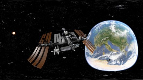 Schools around the world are introducing virtual reality (VR) applications. Students can explore faraway countries or take a virtual trip to the International Space Station, as in this scene produced by Discovery VR.<br />