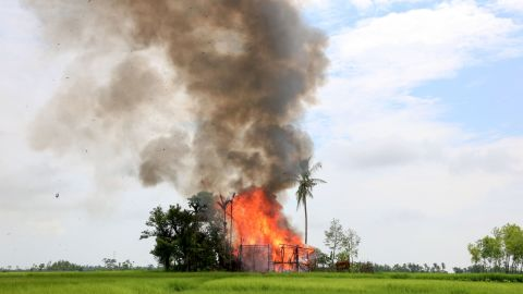 A house burns in Gawdu Tharya village near Maungdaw in Rakhine state in northern Myanmar, September 7, 2017.