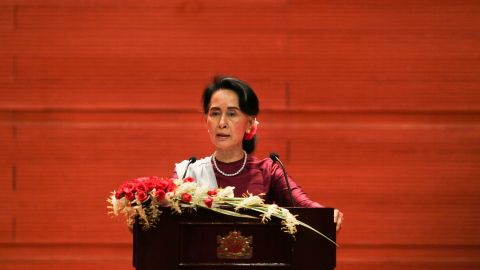 """Myanmar's State Counsellor Aung San Suu Kyi delivers a national address in Naypyidaw on September 19, 2017. Aung San Suu Kyi said on September 19 she """"feels deeply"""" for the suffering of """"all people"""" caught up in conflict scorching through Rakhine state, her first comments on a crisis that also mentioned Muslims displaced by violence. / AFP PHOTO / Ye Aung THU        (Photo credit should read YE AUNG THU/AFP/Getty Images)"""