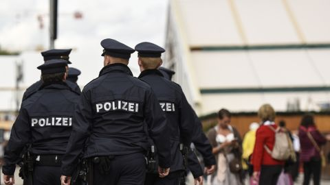 A group of policemen on patrol in Munich, Germany on Sunday.