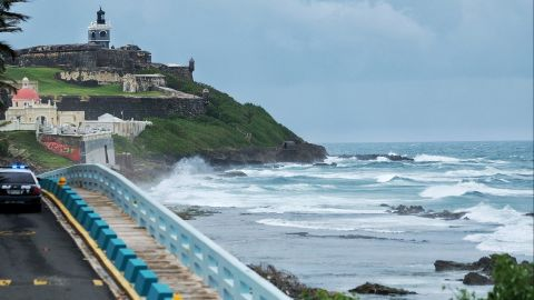 Waves crash in San Juan as the hurricane neared Puerto Rico on September 19.