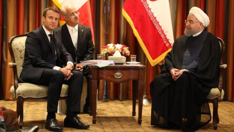 Macron meets with Iranian President Hassan Rouhani on Monday in New York.
