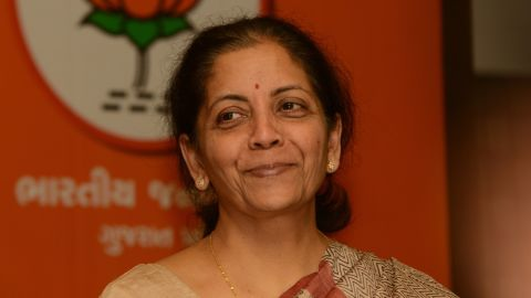 Nirmala Sitaraman pictured during a press conference in Ahmedabad on December 8, 2012.