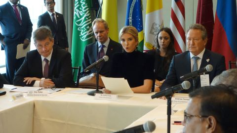 """Ivanka Trump (C) addresses the event """"A Call to Action to End Forced Labour, Modern Slavery and Human Trafficking"""" on September 19, 2017 at the United Nations in New York.  / AFP PHOTO / DON EMMERT        (Photo credit should read DON EMMERT/AFP/Getty Images)"""