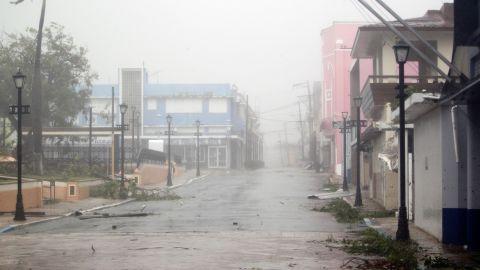 Debris is strewn across a Fajardo street on September 20.