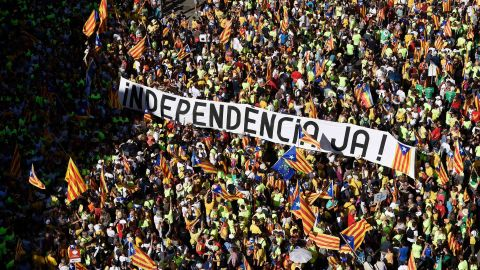 """A banner reads """"Independence now!"""" at a rally on September 11, 2017, in Barcelona during National Day celebrations."""