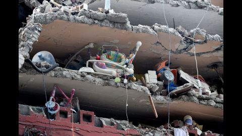 Children's toys are seen in a damaged building in Mexico City on September 20.