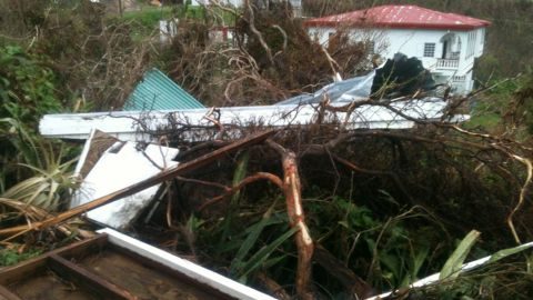 Austin Fields says that the rain has stopped and that he has seen law enforcement vehicles on the road after Hurricane Maria hit the U.S. Virgin Islands.
