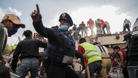 Recovery efforts take place at the collapse of a residential building in Mexico City on September 19.
