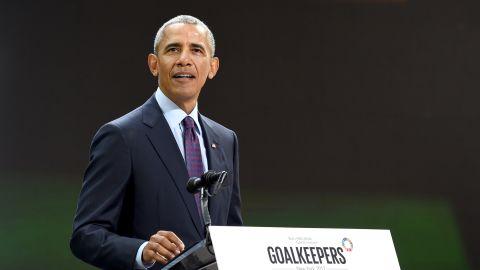 President Barack Obama speaks at Goalkeepers 2017, at Jazz at Lincoln Center on September 20, 2017 in New York City.