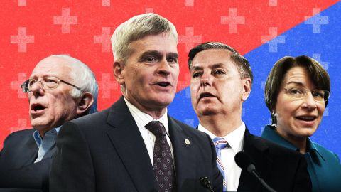 From left to right: Sen. Bernie Sanders of Vermont, Sen. Bill Cassidy of Louisiana, Sen. Lindsey Graham of South Carolina and Sen. Amy Klobuchar of Minnesota