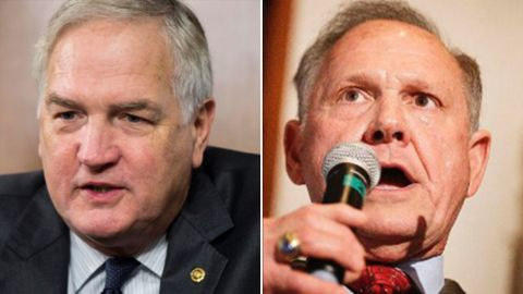 At left, Sen. Luther Strange, and on right, Roy Moore, both Republicans from Alabama