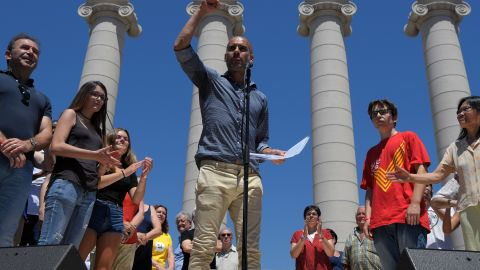 Football manager Pep Guardiola at a pro-independence demonstration in Barcelona on June 11.