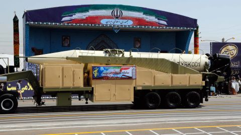 The new Iranian missile Khorramshahr is displayed during a military parade Friday in Tehran.