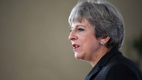 """FLORENCE, ITALY - SEPTEMBER 22:  British Prime Minister Theresa May gives her landmark Brexit speech in Complesso Santa Maria Novella on September 22, 2017 in Florence, Italy. She outlined the UK's proposals to the EU in an attempt to break a deadlock ahead of the fourth round of negotiations that begin on Monday. Florence is often referred to as the """"cradle of capitalism"""" known for its historical trading power.  (Photo by Jeff J Mitchell/Getty Images)"""