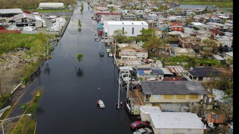 An aerial view shows a flooded neighborhood in Catano, Puerto Rico, on Friday, September 22.