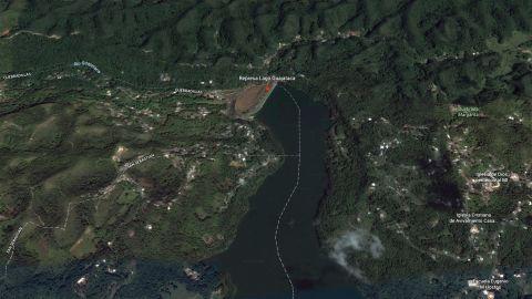 Google Earth image of the Guajataca Dam in Puerto Rico.