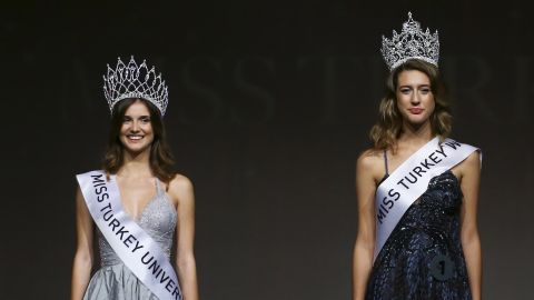 Runner-up Asli Sumen, left, has been crowned Miss Turkey after Esen was stripped of the title.