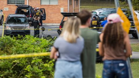 ANTIOCH, TN - SEPTEMBER 24: Law enforcement continues their investigation around the Burnette Chapel Church of Christ on September 24, 2017 in Antioch, Tennessee. One person was killed and seven were wounded when a gunman opened fire in the church. (Photo by Joe Buglewicz/Getty Images)